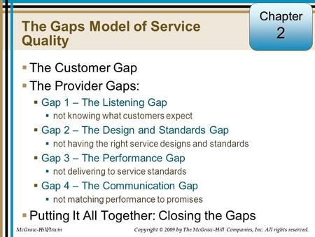 2-1 The Gaps Model of Service Quality  The Customer Gap  The Provider Gaps:  Gap 1 – The Listening Gap  not knowing what customers expect  Gap 2 –