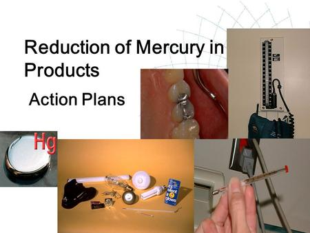 Reduction of Mercury in Products Action Plans. 2 Action Plan  describes the activities to be carried out and the related implementation strategies for.