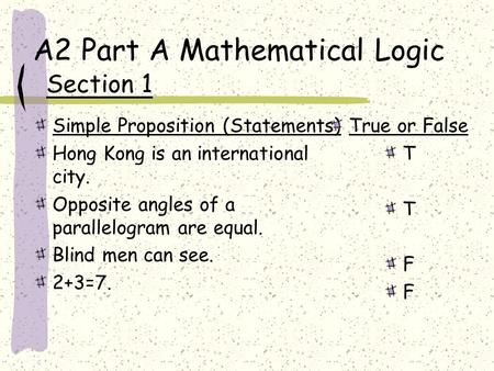A2 Part A Mathematical Logic