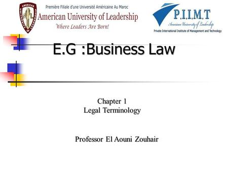 E.G :Business Law Chapter 1 Legal Terminology Professor El Aouni Zouhair.