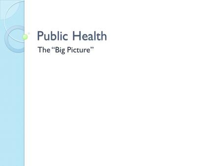 "Public Health The ""Big Picture"". What is Public Health? The sum of all official or governmental efforts to promote, protect, and preserve the people's."
