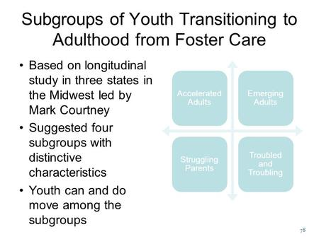 78 Subgroups of Youth Transitioning to Adulthood from Foster Care Based on longitudinal study in three states in the Midwest led by Mark Courtney Suggested.