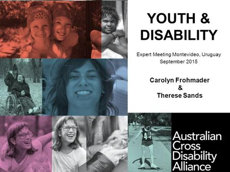 YOUTH & DISABILITY Expert Meeting Montevideo, Uruguay September 2015 Carolyn Frohmader & Therese Sands.