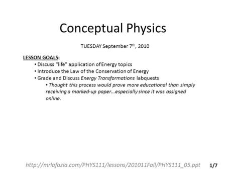 Conceptual physics conservation of energy worksheet answers