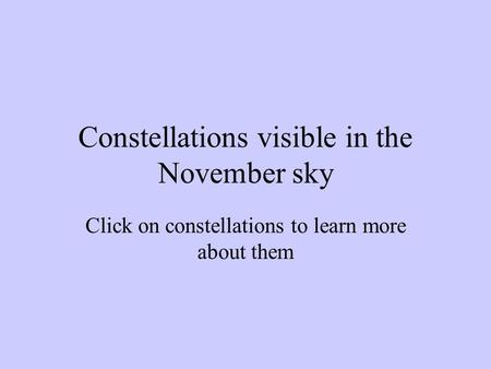Constellations visible in the November sky