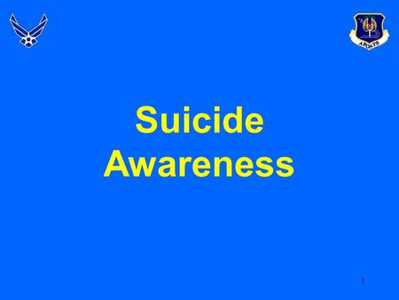 1 Suicide Awareness. 2 Overview  The AF and Suicide Prevention  Suicide Trend  AF Study Findings  Knowledge and Beliefs  Warning Signs  Common Characteristics.