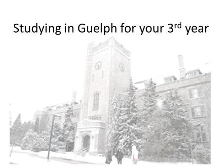 Studying in Guelph for your 3 rd year. University of Guelph.