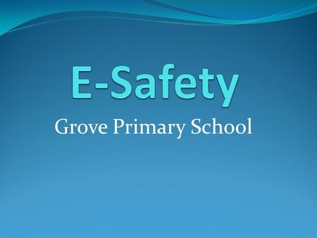 Grove Primary School. What is E-Safety? E-Safety is a term which means not only the internet but other ways in which young people communicate using electronic.