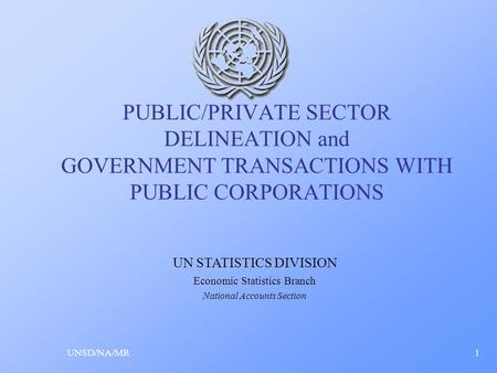 PUBLIC/PRIVATE SECTOR DELINEATION and GOVERNMENT TRANSACTIONS WITH PUBLIC CORPORATIONS UNSD/NA/MR1 UN STATISTICS DIVISION Economic Statistics Branch National.