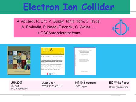Electron Ion Collider A. Accardi, R. Ent, V. Guzey, Tanja Horn, C. Hyde, A. Prokudin, P. Nadel-Turonski, C. Weiss, … + CASA/accelerator team LRP 2007 JLab.