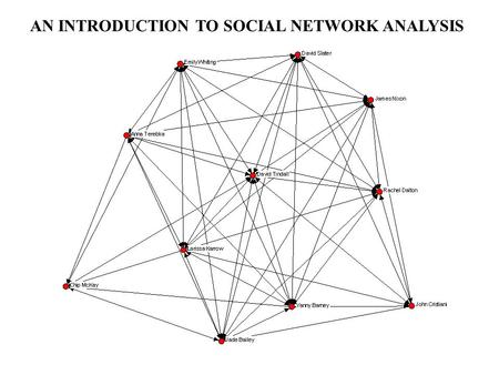AN INTRODUCTION TO SOCIAL NETWORK ANALYSIS. OBJECTIVE: To provide an introduction to the social network analysis perspective and some key social network.