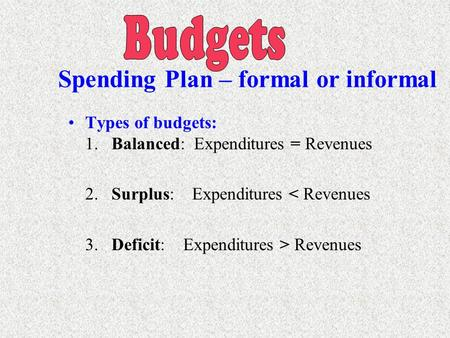 Types of budgets: 1. Balanced: Expenditures = Revenues 2. Surplus: Expenditures < Revenues 3. Deficit: Expenditures > Revenues Spending Plan – formal.