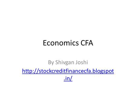 Economics CFA By Shivgan Joshi
