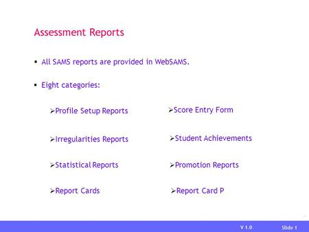 V 1.0 Slide 1 Report Assessment Reports  Eight categories:  Profile Setup Reports  Score Entry Form  Irregularities Reports  Student Achievements.