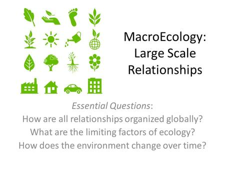 MacroEcology: Large Scale Relationships Essential Questions: How are all relationships organized globally? What are the limiting factors of ecology? How.