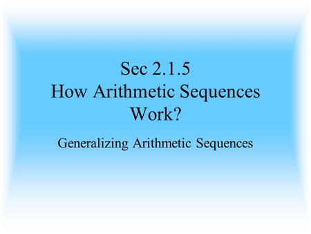 Sec How Arithmetic Sequences Work?