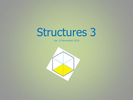 Structures 3 Sat, 27 November 2010. 11:30 - 13:00 Solving simultaneous equations:  using algebra  using graphs.