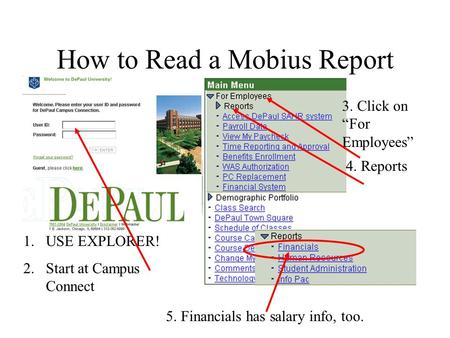 "How to Read a Mobius Report 1.USE EXPLORER! 2.Start at Campus Connect 4. Reports 3. Click on ""For Employees"" 5. Financials has salary info, too."