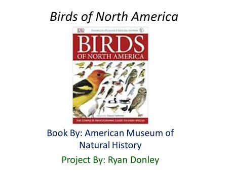 Birds of North America Book By: American Museum of Natural History Project By: Ryan Donley.