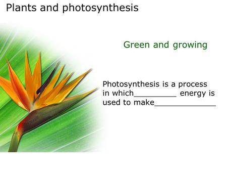 Plants and photosynthesis Green and growing Photosynthesis is a process in which_________ energy is used to make_____________.