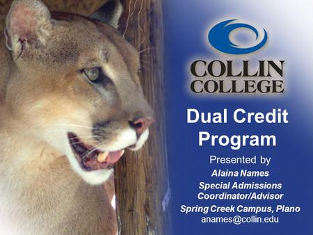 Dual Credit Program Presented by Alaina Names Special Admissions Coordinator/Advisor Spring Creek Campus, Plano