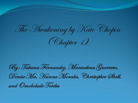 "an introduction to the literature by katherine chopin Although ""kate chopin"" may not appear in the title, each book or book of essays listed here discusses chopin's work at some length the newest imagining the creole city: the rise of literary culture in nineteenth-century new orleans louisiana ""introduction: a new generation reads kate chopin"": 8–17 koloski."