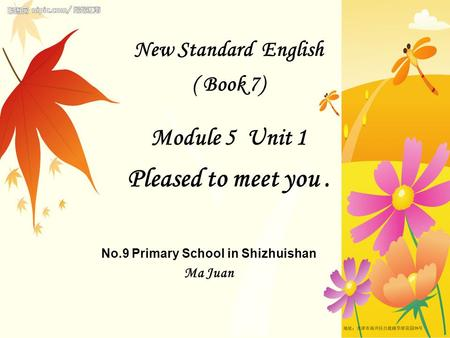 New Standard English ( Book 7) Module 5 Unit 1 Pleased to meet you. No.9 Primary School in Shizhuishan Ma Juan.
