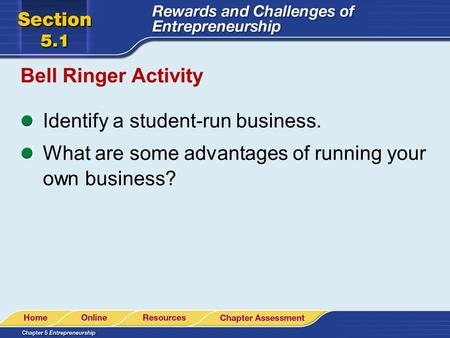 Bell Ringer Activity Identify a student-run business. What are some advantages of running your own business?