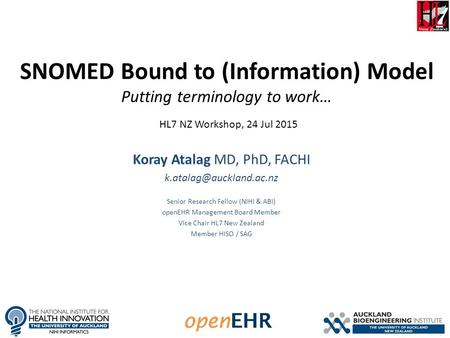 SNOMED Bound to (Information) Model Putting terminology to work… Koray Atalag MD, PhD, FACHI Senior Research Fellow (NIHI & ABI)