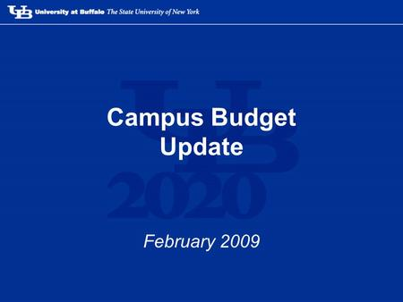 Campus Budget Update February 2009. Summer 2008 headlines –Downturn in NY and US economies significantly reduces NY tax revenues –Projections indicate.