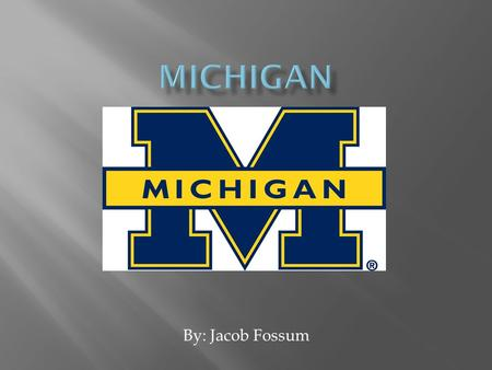 Michigan By: Jacob Fossum.