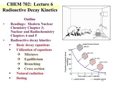 3-1 CHEM 702: Lecture 6 Radioactive Decay Kinetics Outline Readings: Modern Nuclear Chemistry Chapter 3; Nuclear and Radiochemistry Chapters 4 and 5 Radioactive.