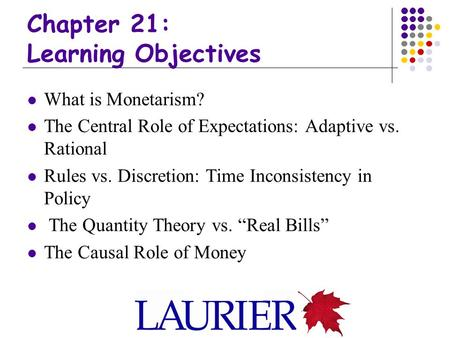 Chapter 21: Learning Objectives What is Monetarism? The Central Role of Expectations: Adaptive vs. Rational Rules vs. Discretion: Time Inconsistency in.