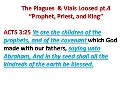 "The Plagues & Vials Loosed pt.4 ""Prophet, Priest, and King"" ACTS 3:25 Ye are the children of the prophets, and of the covenant which God made with our."