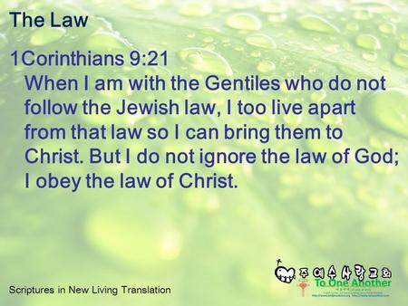 Scriptures in New Living Translation The Law 1Corinthians 9:21 When I am with the Gentiles who do not follow the Jewish law, I too live apart from that.