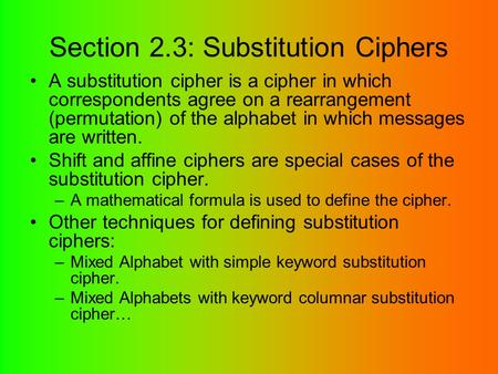 Section 2.3: Substitution Ciphers
