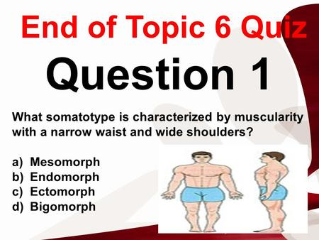 End of Topic 6 Quiz Question 1 What somatotype is characterized by muscularity with a narrow waist and wide shoulders? a)Mesomorph b)Endomorph c)Ectomorph.