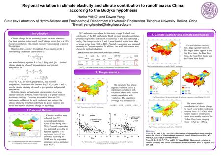 Based on the Mezentsev-Choudhury-Yang equation (with n representing catchments characteristics): and water balance equation R = P ─ E, Yang et al. [2011]