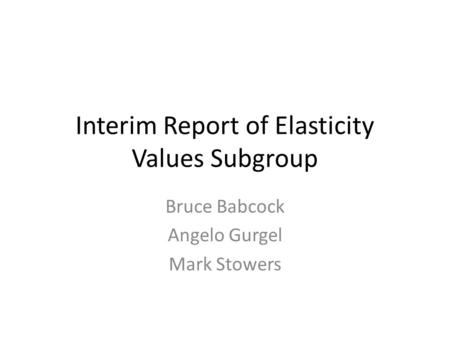 Interim Report of Elasticity Values Subgroup Bruce Babcock Angelo Gurgel Mark Stowers.