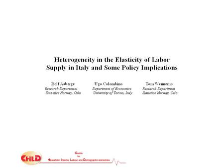 We estimate a microeconometric model of household labor supply which features: simultaneous treatment of spouses' decisions exact representation of complex.