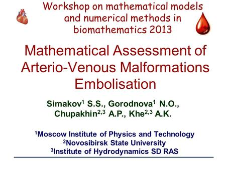 1 Mathematical Assessment of Arterio-Venous Malformations Embolisation 1 Moscow Institute of Physics and Technology 2 Novosibirsk State University 3 Institute.