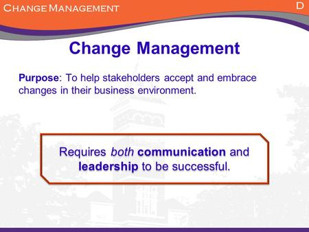 Requires both communication and leadership to be successful.