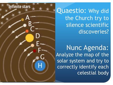 Quaestio: Why did the Church try to silence scientific discoveries? Nunc Agenda: Analyze the map of the solar system and try to correctly identify each.
