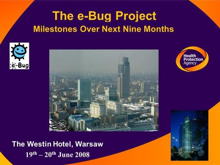 The e-Bug Project Milestones Over Next Nine Months The Westin Hotel, Warsaw 19 th – 20 th June 2008.