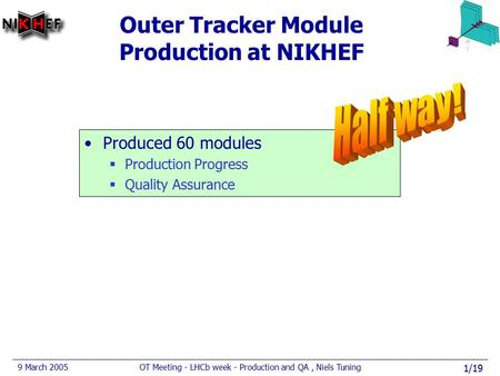 9 March 2005OT Meeting - LHCb week - Production and QA, Niels Tuning 1/19 Outer Tracker Module Production at NIKHEF Produced 60 modules  Production Progress.