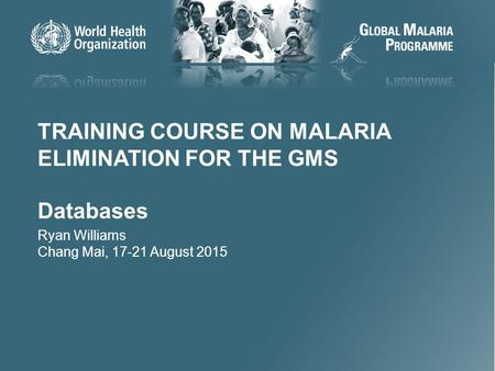 11 TRAINING COURSE ON MALARIA ELIMINATION FOR THE GMS Databases Ryan Williams Chang Mai, 17-21 August 2015.