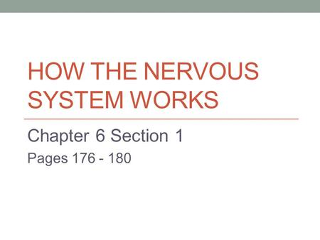 HOW THE NERVOUS SYSTEM WORKS Chapter 6 Section 1 Pages 176 - 180.