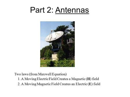 Part 2: Antennas Two laws (from Maxwell Equation) 1. A Moving Electric Field Creates a Magnetic (H) field 2. A Moving Magnetic Field Creates an Electric.