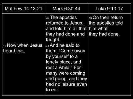 Matthew 14:13-21Mark 6:30-44Luke 9:10-17 13 Now when Jesus heard this, 30 The apostles returned to Jesus, and told him all that they had done and taught.
