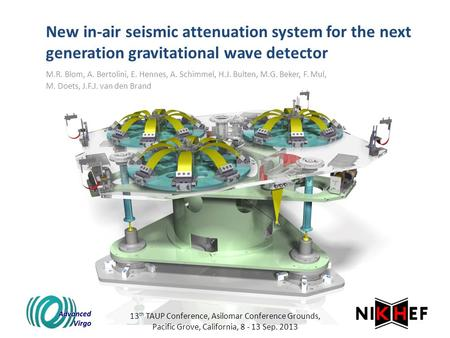 New in-air seismic attenuation system for the next generation gravitational wave detector M.R. Blom, A. Bertolini, E. Hennes, A. Schimmel, H.J. Bulten,